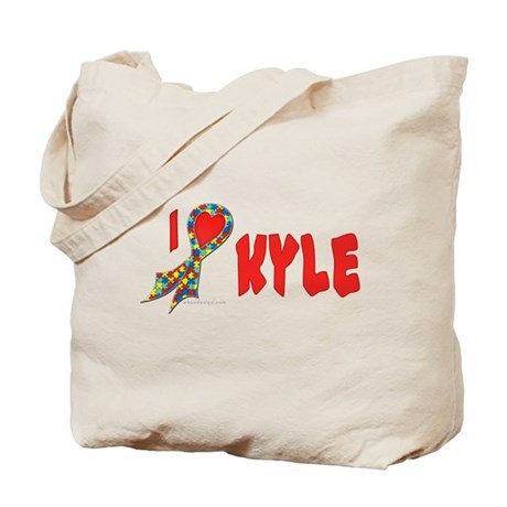 Autism Puzzle I Heart/Support Kyle Tote Bag