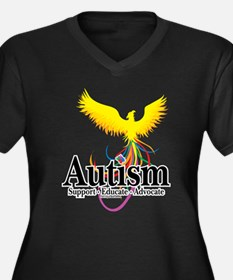 Autism Phoenix Women's Plus Size V-Neck Dark T-Shi