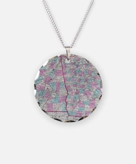 Vintage Map of Alabama and G Necklace