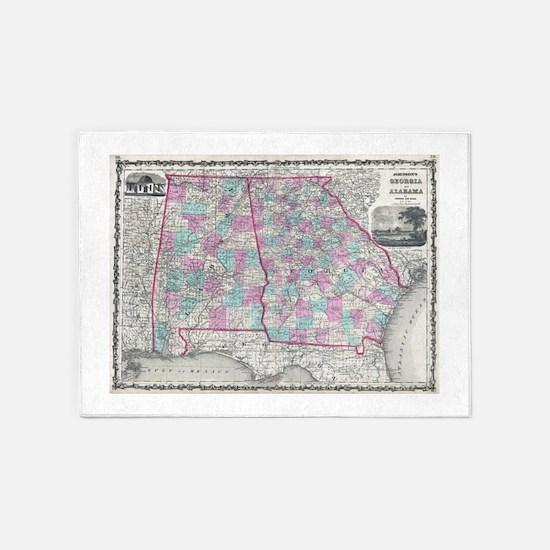 Vintage Map of Alabama and Georgia 5'x7'Area Rug