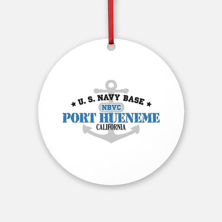 US Navy Port Hueneme Lake Bas Ornament (Round)