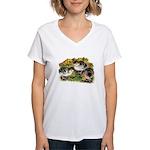 Flower Garden Guinea Keets Women's V-Neck T-Shirt