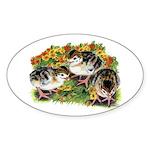Flower Garden Guinea Keets Sticker (Oval)