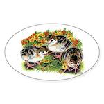 Flower Garden Guinea Keets Sticker (Oval 10 pk)