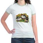 Flower Garden Guinea Keets Jr. Ringer T-Shirt