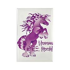 Purple Horses Rock Rectangle Magnet (10 pack)