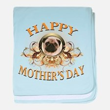 Happy Mother's Day Pug baby blanket
