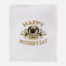 Happy Mother's Day Pug Throw Blanket