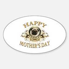 Happy Mother's Day Pug Sticker (Oval)