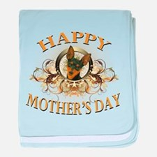 Happy Mother's Day Min Pin baby blanket