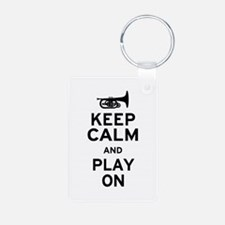 Keep Calm and Play On (Mellophone) Keychains