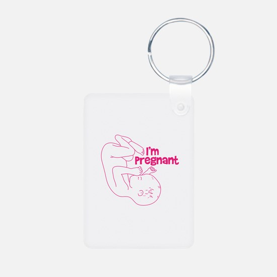 I'm Pregnant! (pink) Aluminum Photo Keychain