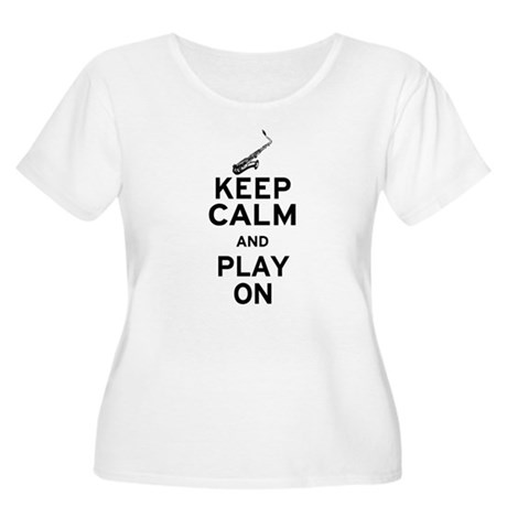Keep Calm and Play On (Sax) Women's Plus Size Scoo