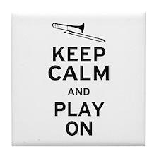 Keep Calm Trombone Tile Coaster