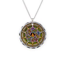 Beltane Pentacle Necklace Circle Charm