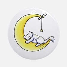 White Kitty Lunar Love Ornament (Round)