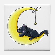 Black Kitty Lunar Love Tile Coaster