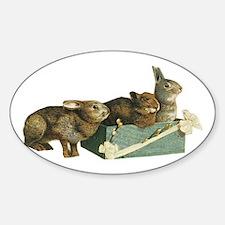 Three Bunnys Oval Decal