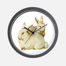 Two White Bunnys Wall Clock