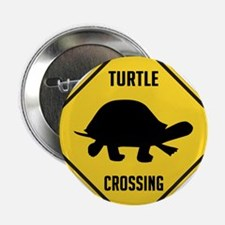 """Turtle Crossing Sign 2.25"""" Button (10 pack)"""