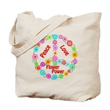 Flower Power Peace Sign Tote Bag