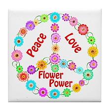 Flower Power Peace Sign Tile Coaster