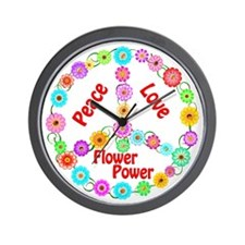 Flower Power Peace Sign Wall Clock