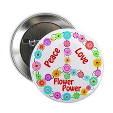 "Flower Power Peace Sign 2.25"" Button (10 pack)"