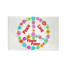 Flower Power Peace Sign Rectangle Magnet