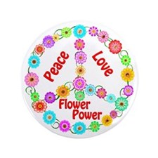 "Flower Power Peace Sign 3.5"" Button"