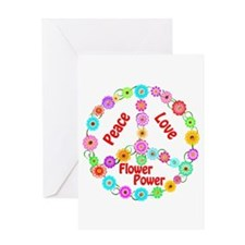 Flower Power Peace Sign Greeting Card