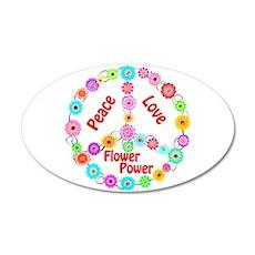 Flower Power Peace Sign 38.5 x 24.5 Oval Wall Peel