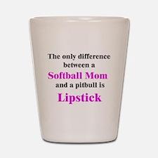 Softball Mom Pitbull Lipstick Shot Glass