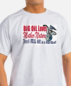 Big Oil Loves Mother Nature Ash Grey T-Shirt