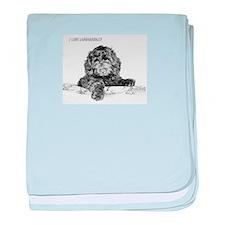Cute Labradoodle baby blanket