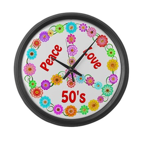 50s Peace Sign Large Wall Clock