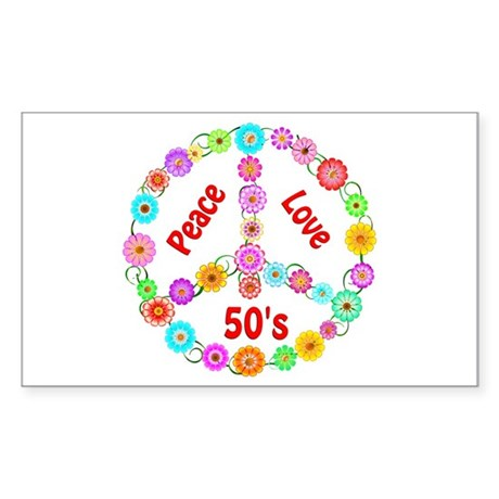 50s Peace Sign Sticker (Rectangle)