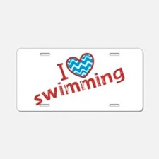 I heart (love) Swimming Aluminum License Plate