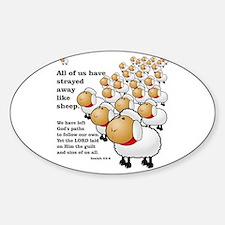 Strayed away like sheep Sticker (Oval)