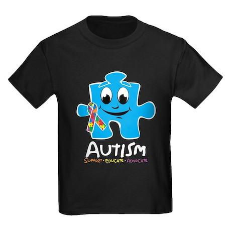 Autism Cartoon Puzzle Piece Kids Dark T-Shirt