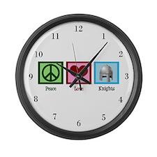 Peace Love Knights Large Wall Clock