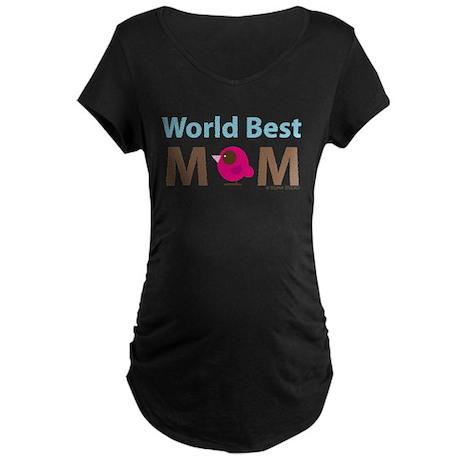 """World Best Mom"" Maternity Dark T-Shirt"