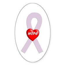 Orchid Hope Heart Oval Decal