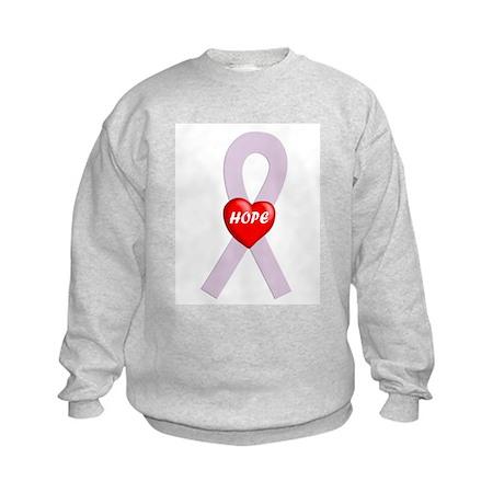 Orchid Hope Heart Kids Sweatshirt