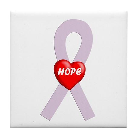 Orchid Hope Heart Tile Coaster