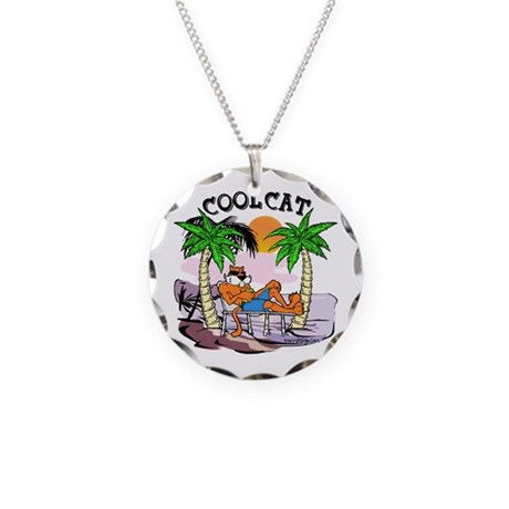 Cool Cat Necklace Circle Charm