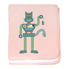 Robot Cat & Wind Up Mouse baby blanket