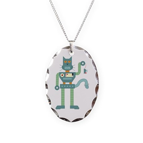 Robot Cat & Wind Up Mouse Necklace Oval Charm