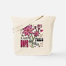 Peace Love Hope Flower Tote Bag