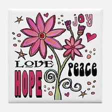 Peace Love Hope Flower Tile Coaster